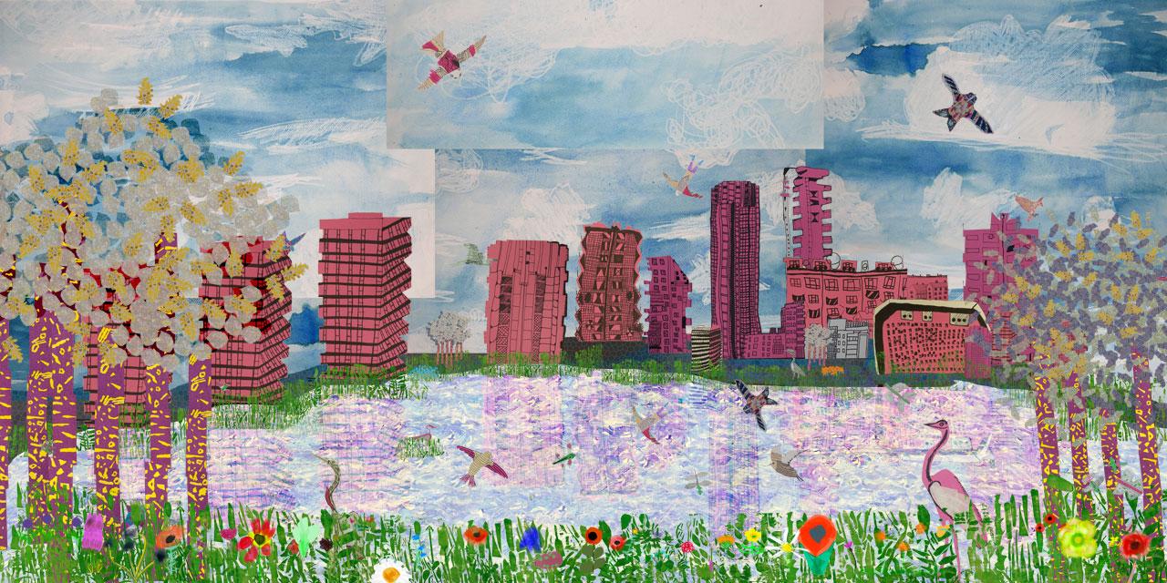 Mural of Woodberry Wetlands by pupils of Jubilee Primary School